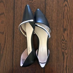 Women's Black and Silver Flats